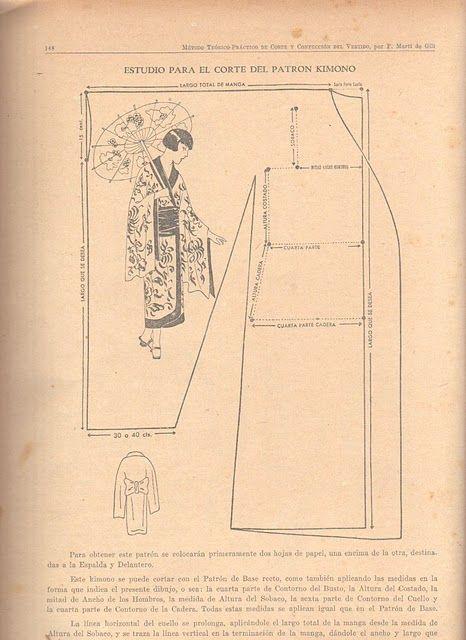 Patrón de kimono, para disfraz de geisha o japonesa... (Más patrones en la página web)