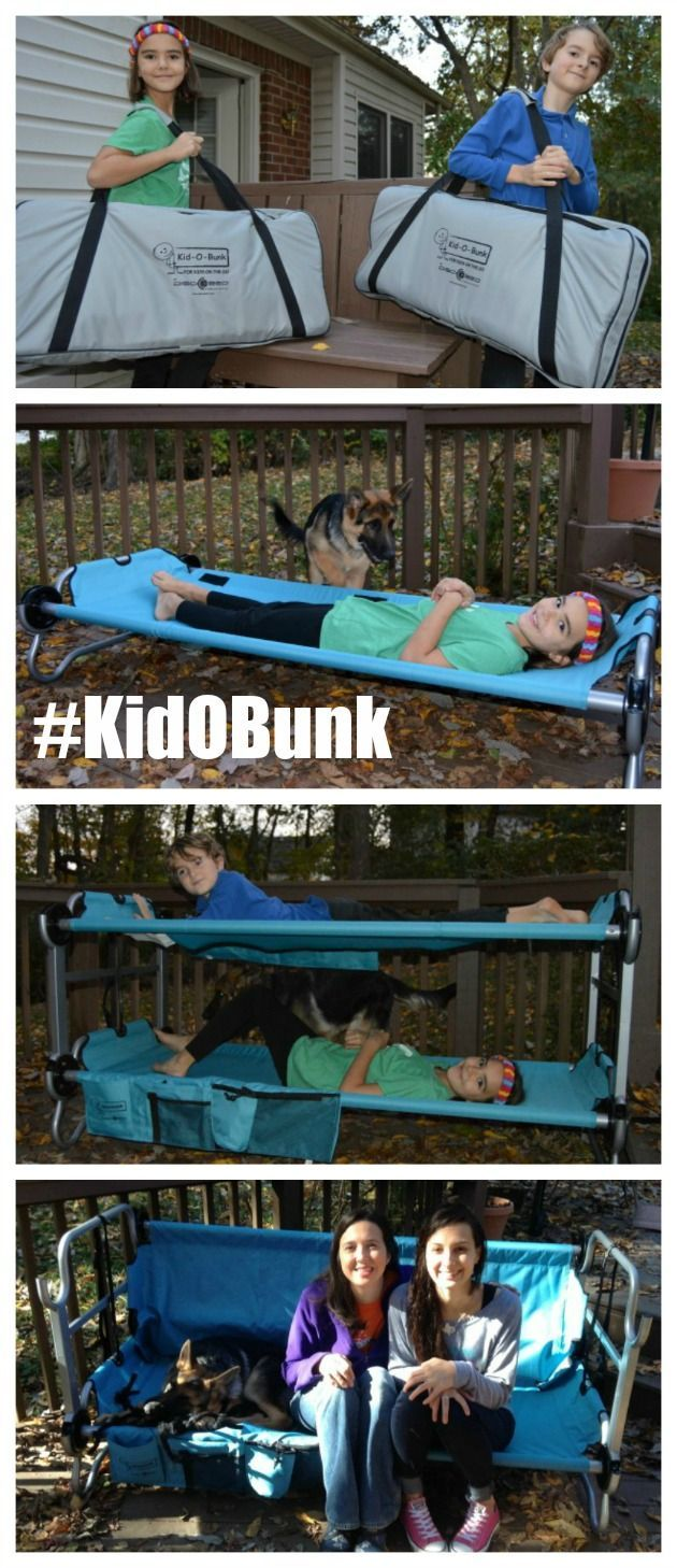 Kid-O-Bunk portable bunk beds- no mattresses and no tools required for assembly. Use as a bunk bed, a bench or two single cots for camping or sleepovers.