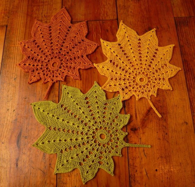 Set of 3 crochet leaf doilies – autumn decoration in green, yellow and brown is creative inspiration for us. Get more photo about home decor related with by looking at photos gallery at the bottom of this page. We are want to say thanks if you like to share this …