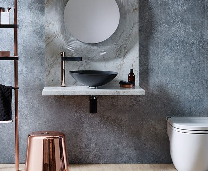 Mixing materials is a great way to create an interesting effect in the  bathroom. Shining metallics muted stone finishes with classic monochrome  makes for a ...