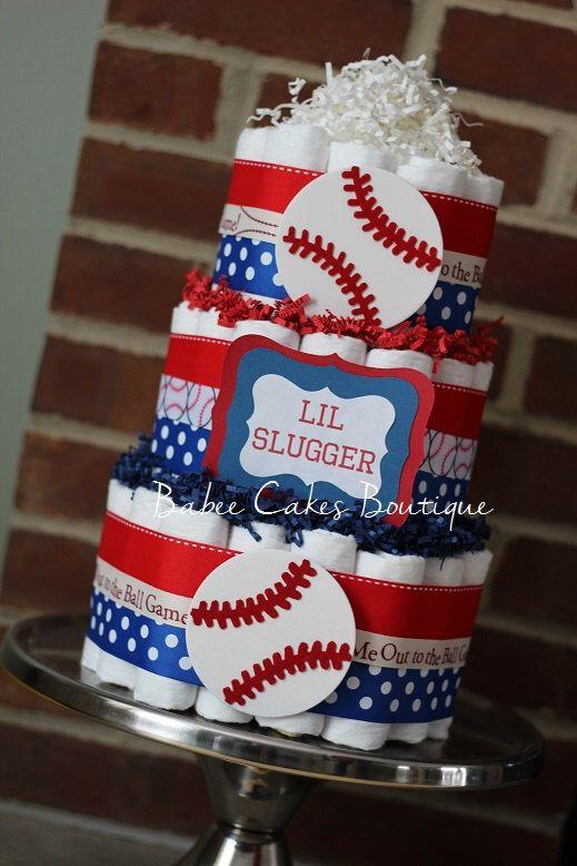 3 Tier Baseball Diaper Cake, Boys Baseball Baby Shower, Sports Baby Shower Decor, Red Royal Blue Navy Baseball Diaper Cake, Little Slugger by BabeeCakesBoutique on Etsy https://www.etsy.com/listing/222645608/3-tier-baseball-diaper-cake-boys