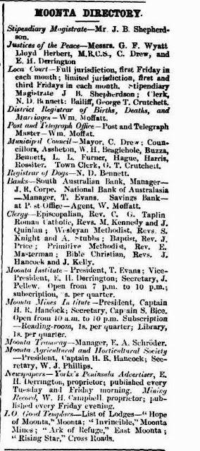 Moonta Directory 1873 (South Australia)