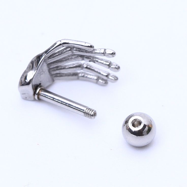 2pcs Gold Silver Black Surgical Stainless Steel Paw Stud Earring Skull Hand Ear Tragus Piercing Human Hand Ear Claw Earrings