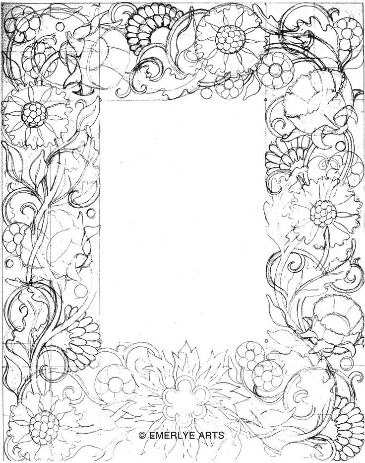 coloring pages flower borders - photo#19
