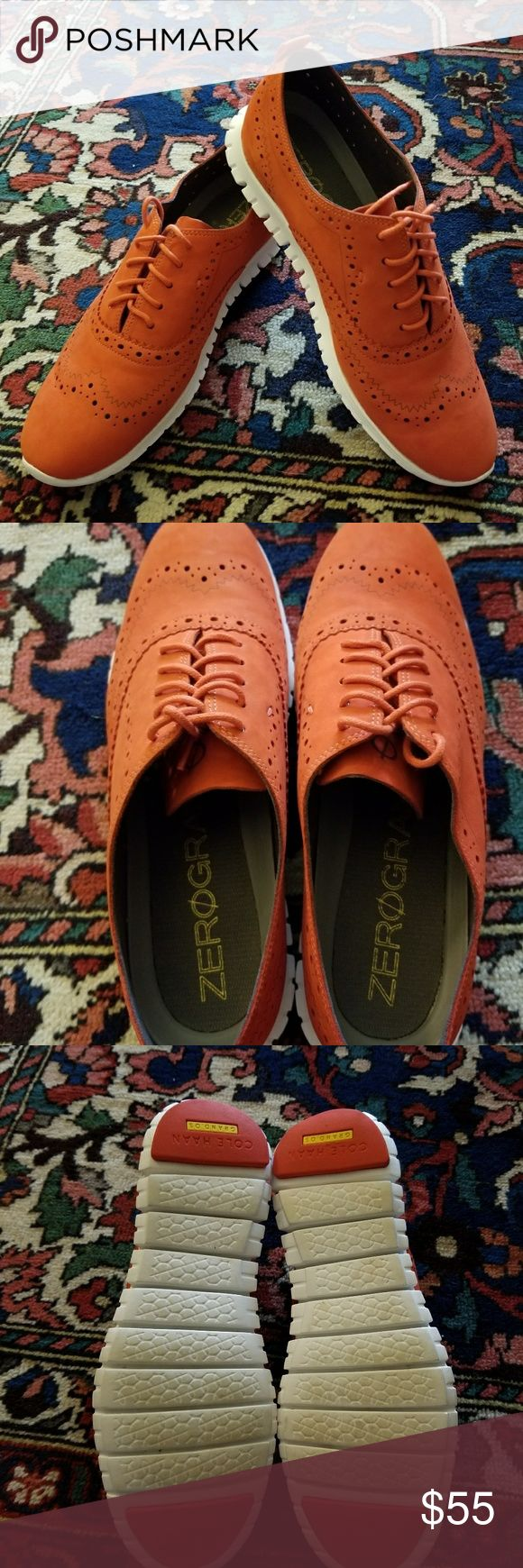 """COLE HAAN Zero Grand suede oxford COLE HAAN Zero Grand suede oxford size 7. Called """"citrus red"""" but looks like orange/coral color. Crafted from soft suede with laser-cut details, they feature rubber soles with Grand.OS technology that are carefully constructed with a focus on flexibility and reduced weight. Match with cuffed boyfriend jeans and a silk blouse for off-duty wear or a skirt and button-down for an unexpected twist to business attire. Beautiful accent to any outfit, in EUC…"""