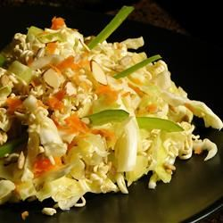 Ramen Cabbage Salad Allrecipes.com    I love this salad. I use Rice Vinegar as it is not as intense as distilled.  Needs to chill for a couple hrs but if you let it sit too many hrs the cabbage will wilt from the vinegar. You can adjust the sugar to taste.