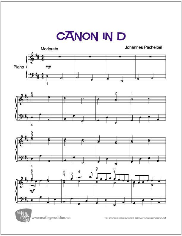 Canon In D Easy Intermediate Piano Sheet Music Digital Print