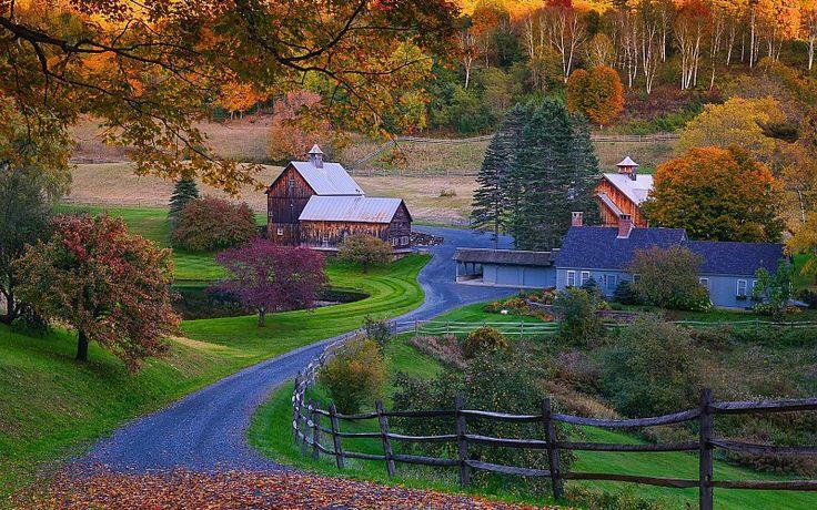 EE.UU. Carreteras Otoño pueblo de Vermont
