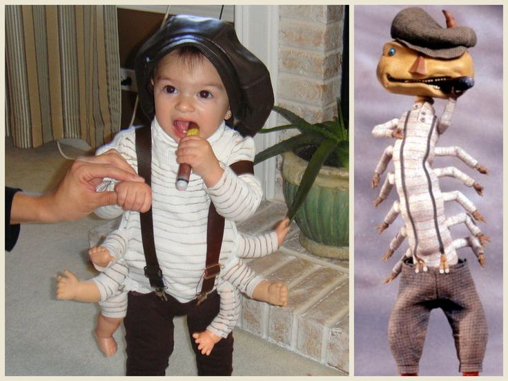 So cute! My sister made my baby cousin a Centipede costume from James and the Giant Peach. Can not speak to how it was made... sorry.