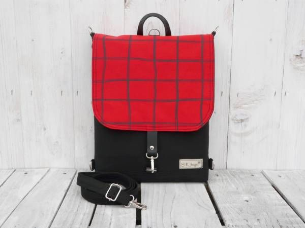 Handmade Canvas Backpack - Red Plaid Design