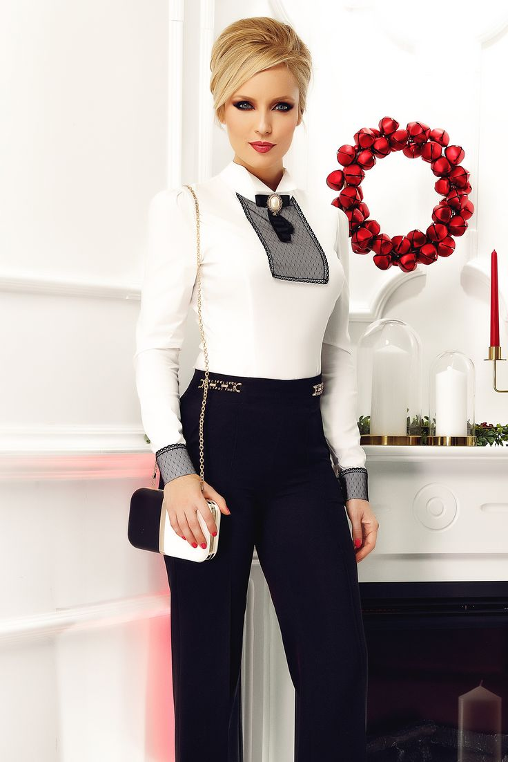 Fofy white women`s shirt office with lace details accessorized with breastpin, accessorized with breastpin, lace details, accesory may vary