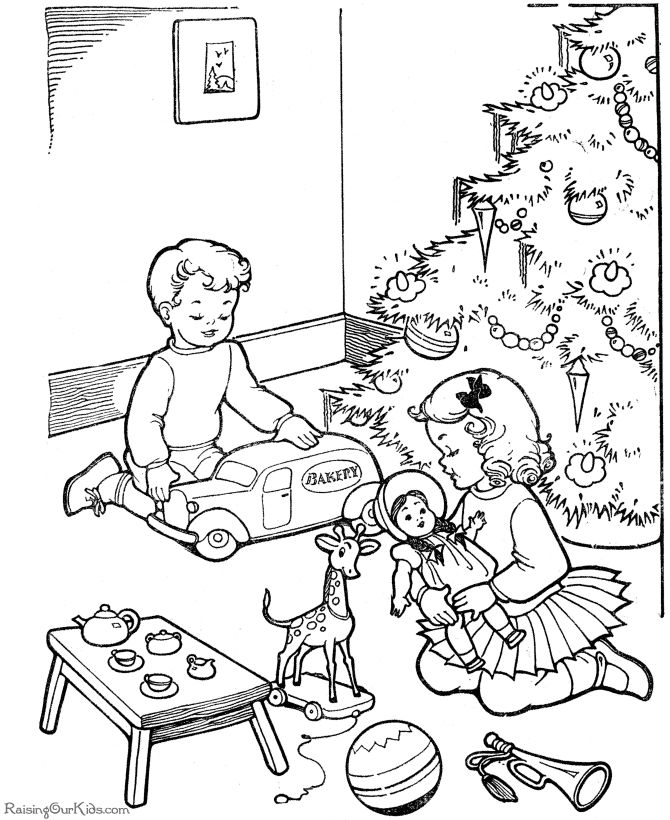 kids free printable christmas color page - Kids Color Pictures