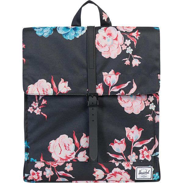 Herschel City Backpack - Pastel Petals - School Backpacks ($55) ❤ liked on Polyvore featuring bags, backpacks, pink, day pack backpack, magnetic bag, pink backpack, backpack bags and pink bag