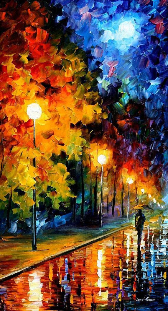 Original Oil Painting Modern Large Wall Art Decor Gift For Woman On Canvas By Leonid Afremov – Blue Moon. Size: 20″ X 36″ Inches