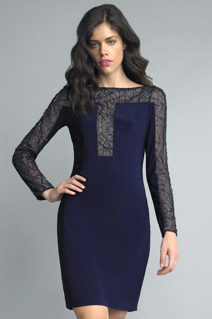 Long Sleeve Cocktail Dress Navy Blue