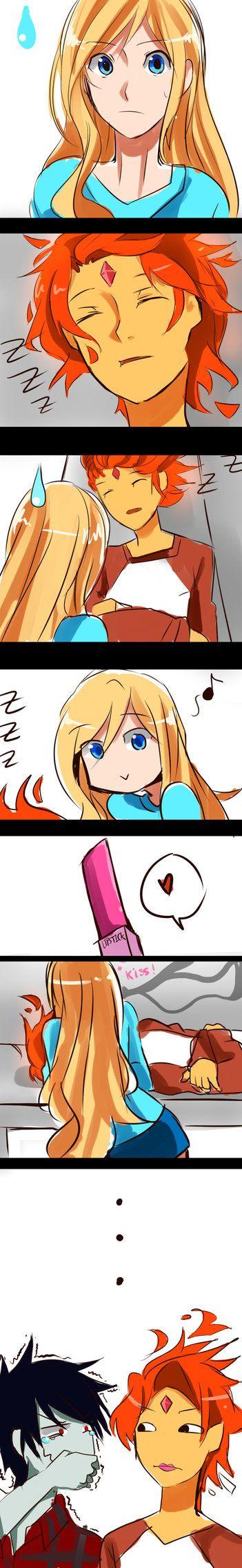Flame Prince x Fionna : Lips (Strip Comic) by AnimeandCartoonFan on deviantART