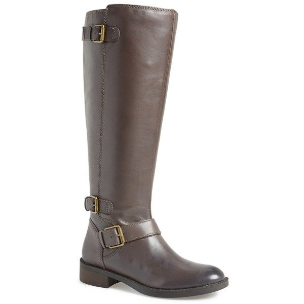 Enzo Angiolini Sayin Riding Leather Boot ($45) ❤ liked on Polyvore featuring shoes, boots, knee-high boots, storm grey, grey leather boots, knee boots, wide calf leather boots, gray boots and knee high buckle boots