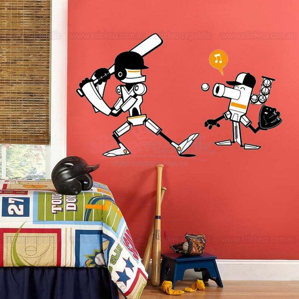 Check out this funky boy's baseball adhesive removable wall sticker