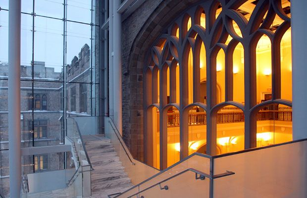 Old meets new at the Victoria Memorial Museum building: The new stairs climb beside the old front window, which has had its glass removed and overlooks the original atrium.