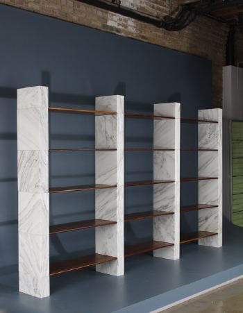 Afra and Tobia Scarpa; Unique Marble and Wood prototype Shelves for Poggi, 1968.