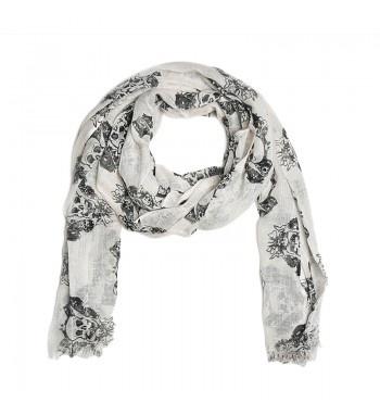 Gauze scarf with skull printed. http://shop.mangano.com/en/accessories/16349-foulard-slub-skull-burro.html  #foulard #skull #fashion #menswear