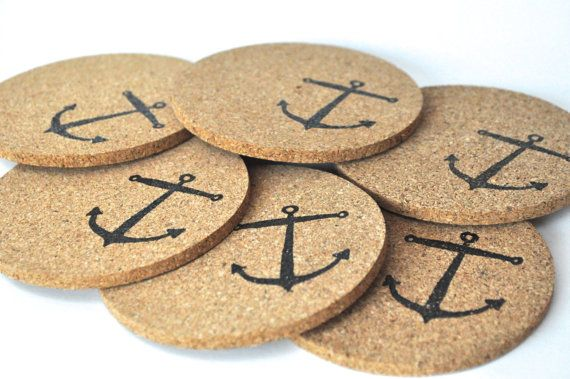 Nautical Cork Coasters Anchor Coasters by AshleyCaitlinCrafts