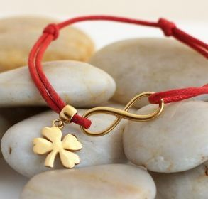 Infinity luck - thin cord with infinity and 4 leaf clover charms made of silver 925, covered 18k gold / designed and produced in Poland