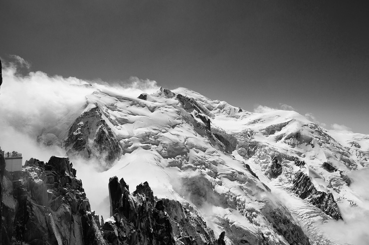 The summit of the North Face of Mont Blanc as seen from the Aiguille du Midi in Chamonix, France