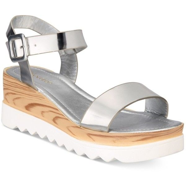 Wanted Baldwin Platform Sandals ($60) ❤ liked on Polyvore featuring shoes, sandals, silver, platform wedge sandals, platform sandals, wedge heel sandals, wedge sandals and silver platform sandals