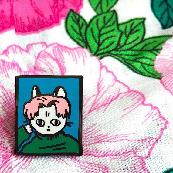 Blue cool cat pin