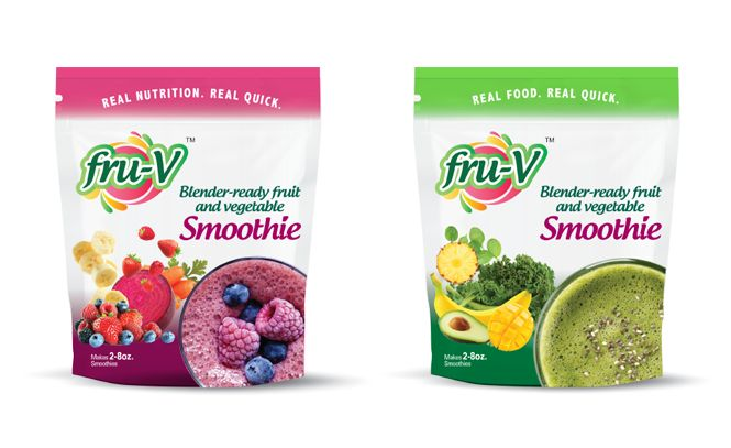 Fru-V smoothie packaging design.