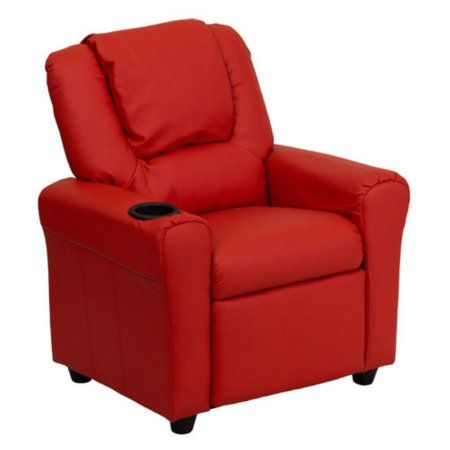 Flash Furniture Kids' Vinyl Recliner with Cupholder and Headrest, Multiple Colors, Red