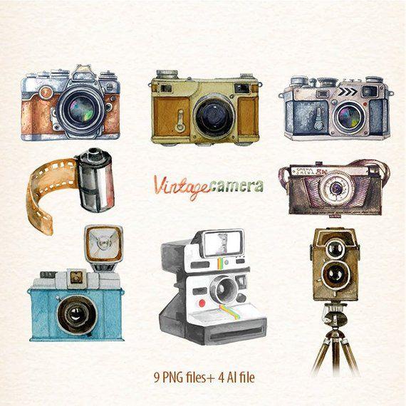 Vintage Camera Clipart Retro Watercolor Cameras Photo Film Etsy In 2021 Camera Drawing Vintage Camera Retro Camera