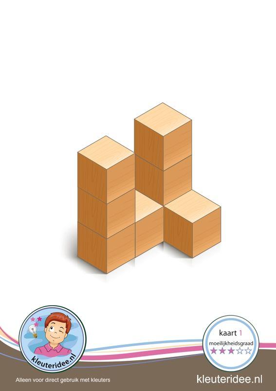 Bouwkaart 1 moeilijkheidsgraad 3 voor kleuters, kleuteridee, Preschool card building blocks with toddlers 1, difficulty 2