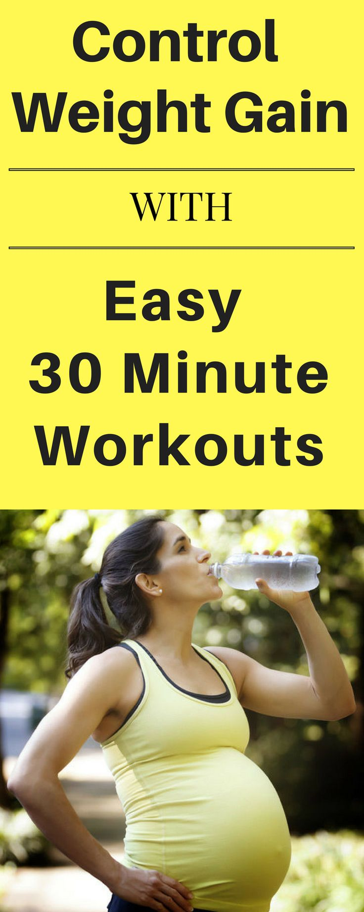Control weight gain with easy 30 minute workouts.  Home prenatal workouts, no gym required.