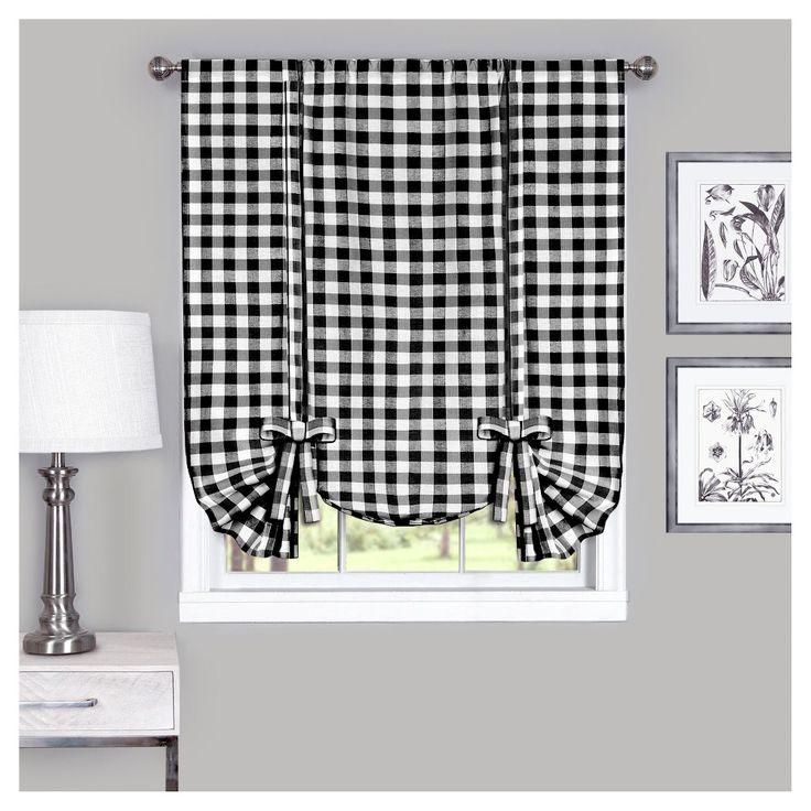 Buffalo Check Window Curtain Tie Up Shade Black White 42