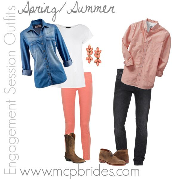 Spring/Summer Engagement Session Outfit Ideas Coral and Denim mcpbrides.com Elizabethtown, KY