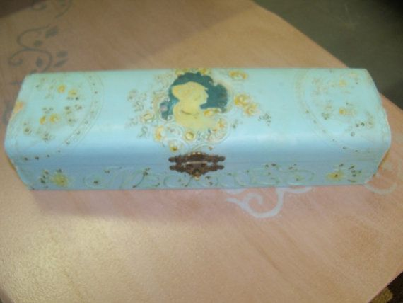 Antique Victorian blue and gold Necktie/Jewelry box  with embossed flowers and pink lining