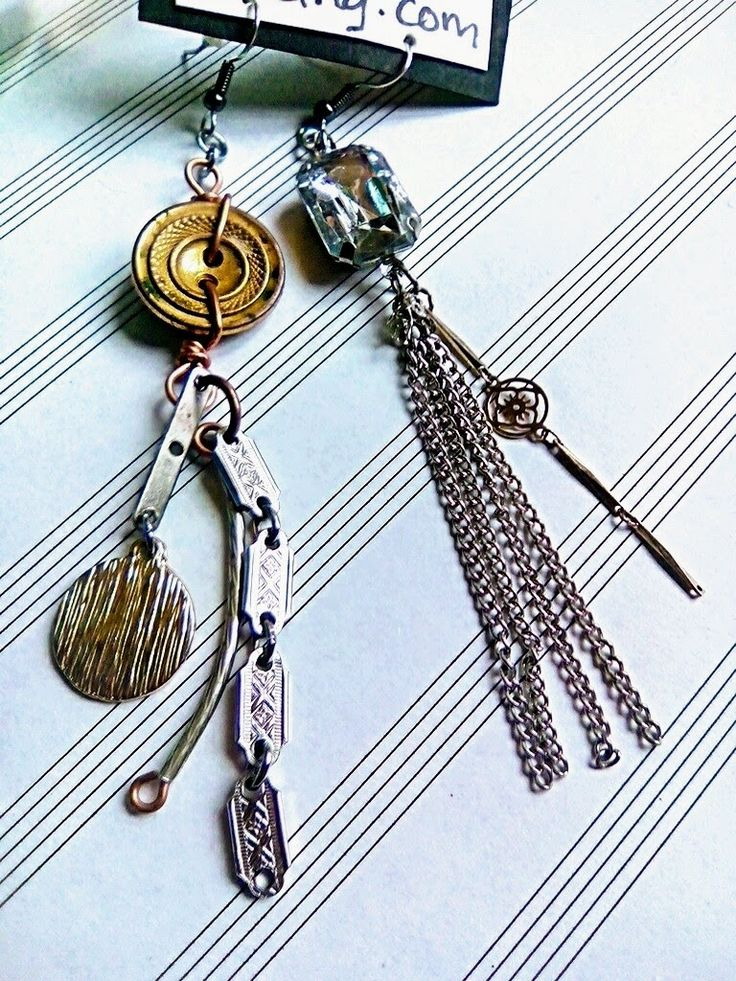 Upcycled Button & Rhinestone, Chain & Charm Long Gypsy Assemblage Style Earrings
