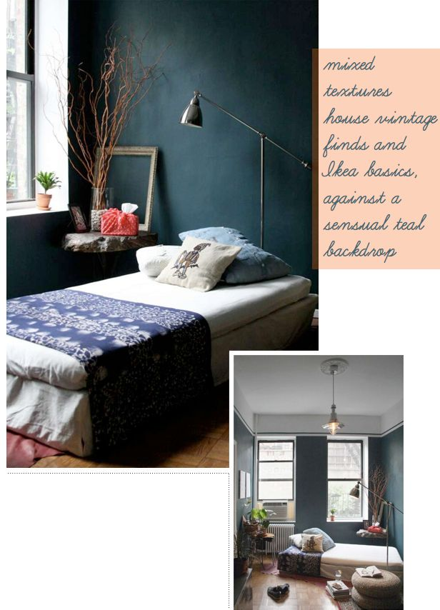 teal, what a strong wall colour!