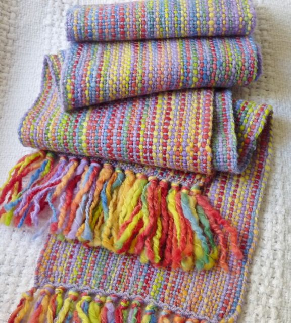 Hand spun Hand dyed Hand Woven scarf