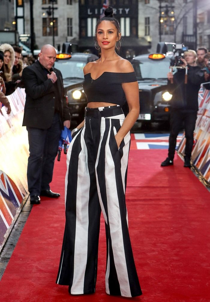 Alesha Dixon wearing a pair of wide-leg cotton and linen-blend pants by Ann Demeulemeester