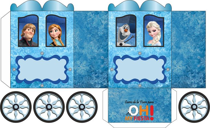 Frozen: Caja con forma de Carruaje para Imprimir Gratis.