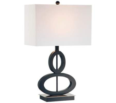 Black and Satin Steel Asymmetrical Ovals Table Lamp | 55DowningStreet.com