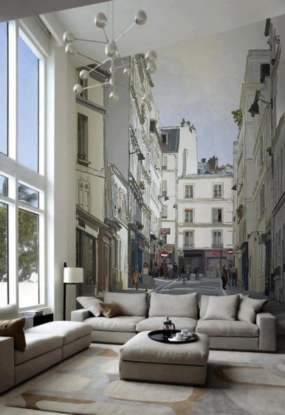 Contemporary Living Room With Morning In The Tuscan Town Mural, Carpet,  Artemide Led Net Circle Suspension, High Ceiling Part 31