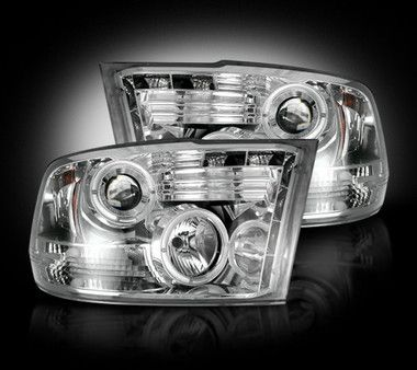 Recon Clear Projector Headlights with LED Halos & DRLs (10-13 Cummins)