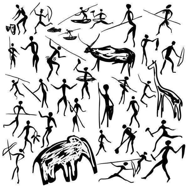 ᐈ Herramientas De Caza Prehistoricas Dibujos De Stock Vector Prehistorico Descargar En Depositphotos En 2020 Pintura Primitiva Dibujos Rupestres Piedras Pintadas