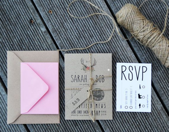 10 Wedding Invitation / Rustic Wedding Invitation Suite - 'Rustic Barn'