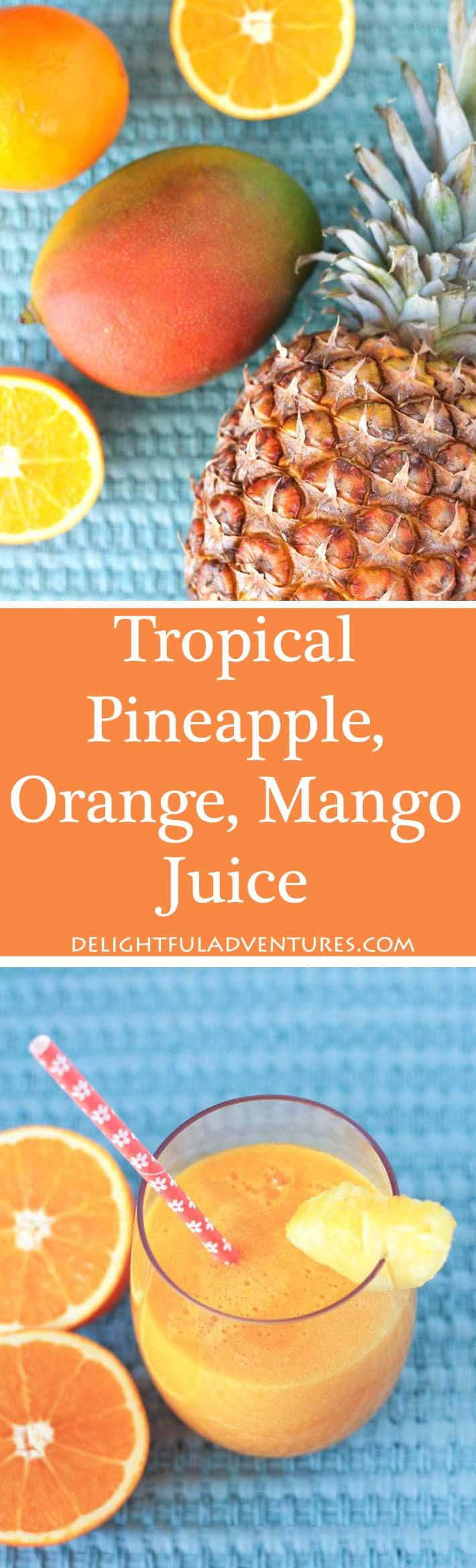 A glass of freshly-made pineapple orange mango juice is just what you need when you're looking for a refreshing tropical pick-me-up.