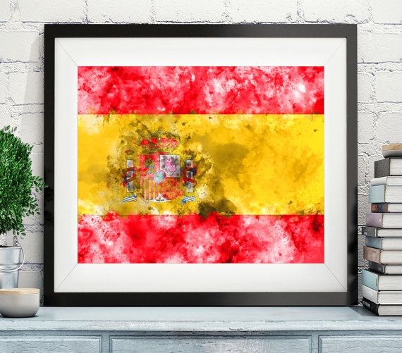 Spain Flag Art, Spain Flag Print, Flag Poster, Country Flags, Watercolor Painting, Watercolor Flag, Flag Poster, Spanish Flag, Gifts